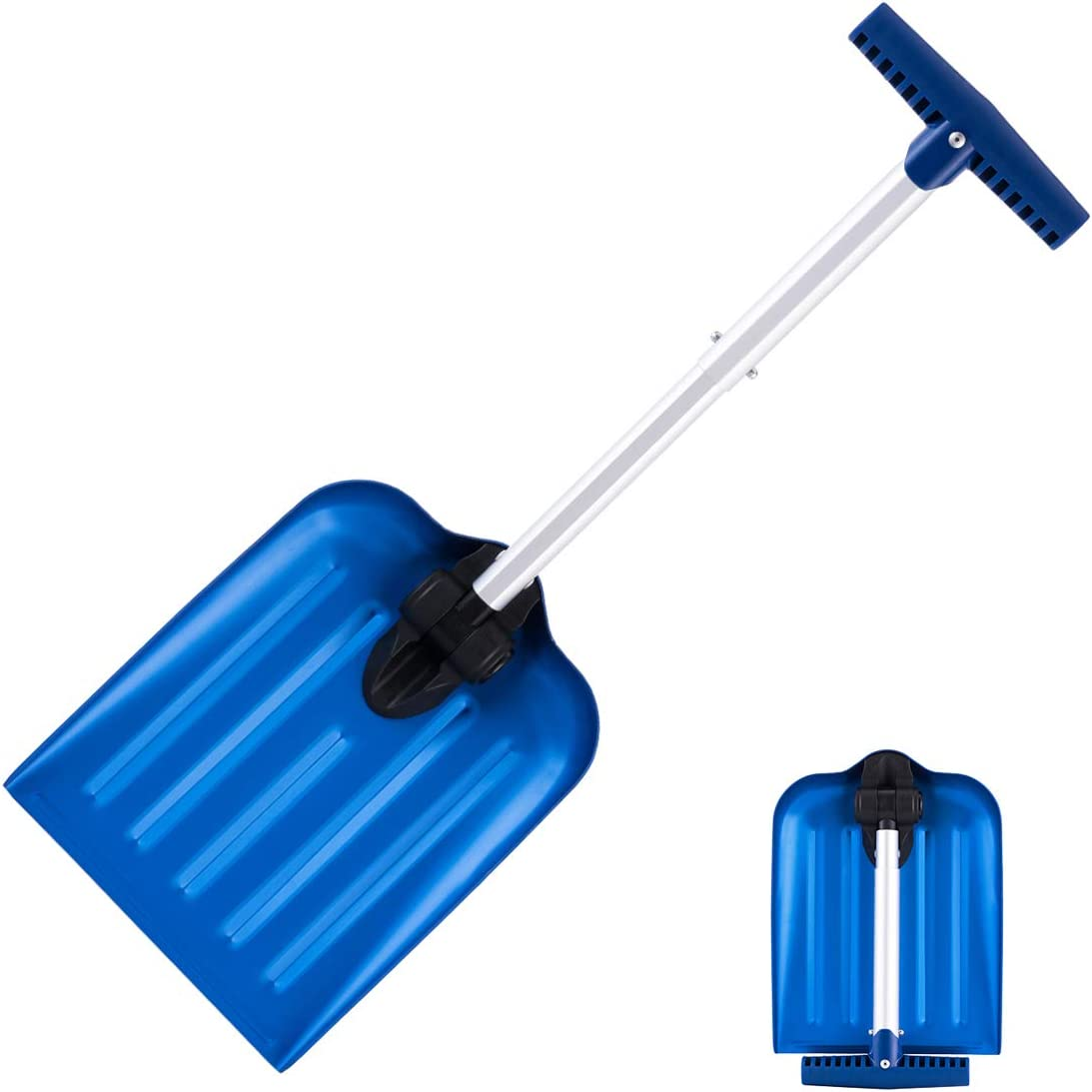 Blue Stalwart Collapsible Snow Shovel Aluminum Adjustable Spade with Easy Grip Handle for Roadside Emergency Kit and Safety in Vehicles