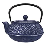 Juvale Cast Iron Teapot with Removable Infuser Japanese Style Tetsubin Tea Kettle 1L (Blue)
