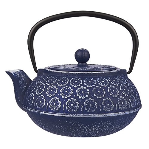 QUALITY BLUE FLORAL CAST IRON TEAPOT KETTLE WITH STAINLESS STEEL INFUSER