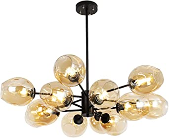 Branching Chandelier, Hand Blown Clear Vintage Crackle Bubble Glass 6 Globes