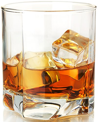 Circleware Highland Double Old Fashioned Whiskey Glass, Set of 4, 12 ounce Drinking Glasses