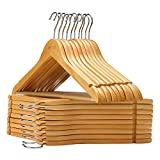 VEEYOO Solid Wooden Suit Hangers (Set of 20) - Non-slip Bar & Extra Thick Chrome Hook - Sturdy Durable Coat Jacket Dress Clothes Hangers, Retro Finish