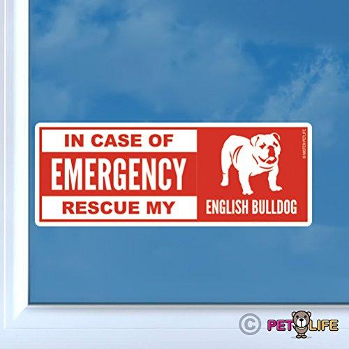 In Case of Emergency Rescue My English Bulldog Sticker Vinyl Auto Window Sticker Dog Safety ()