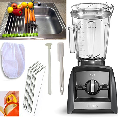 Vitamix Ascent A2500 Blender + Accessory Pack 5- Drain Rack + Blender Spatula + Cleaning Brush + Blender Scraper + Stainless Straws + Nut Milk Bag + Citrus Peeler 2500 (A2500 Slate + Accessory Pack5) (Vita Dry Mix Blade)