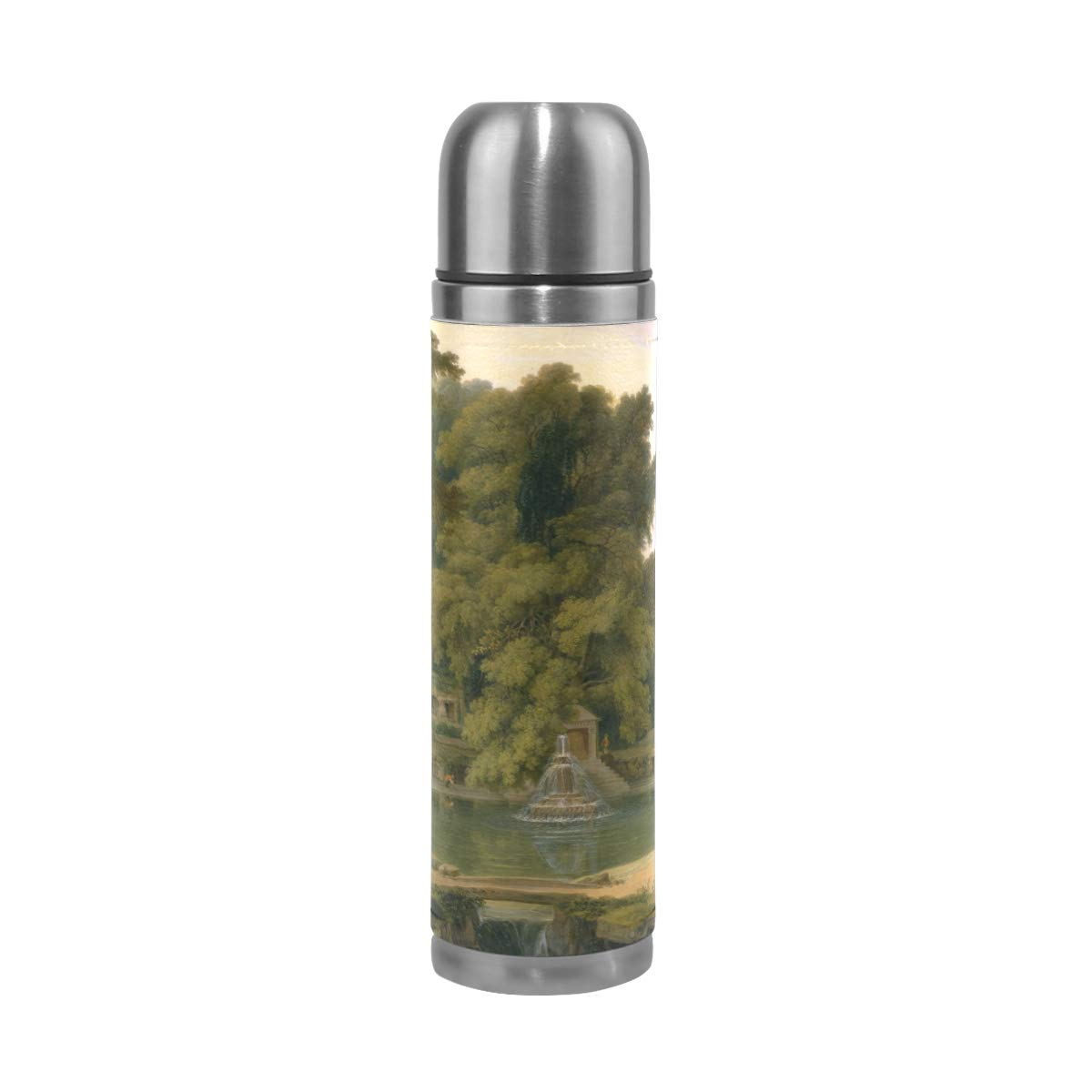 Landscape Water Forest People Sky Wood 500ML Stainless Steel Double Walled vacuum insulated water bottle Travel Mug Leather Cover Thermos 17 oz