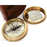 Robert Frost Brass Poem Compass-Pocket Compass w Leather Case