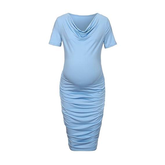 Gusspower Vestido de Mujer Embarazada,Vestido Maternidad Falda Plisada Manga Corta premamá de Cuello V