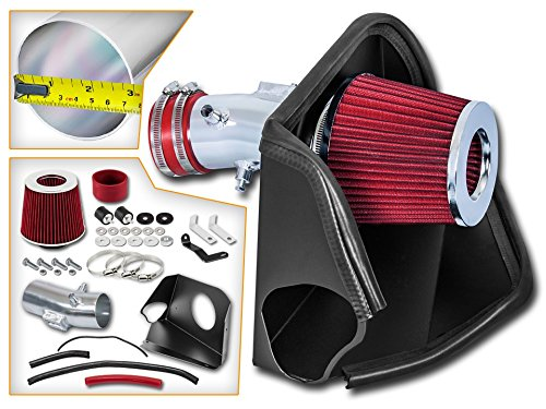Cold Air Intake System with Heat Shield Kit + Filter Combo RED Compatible For 07-12 Nissan Altima 3.5L V6 ()