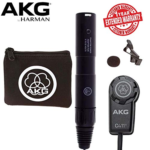 (AKG C411 PP Miniature Condenser Pickup Microphone With Carrying Bag and 1-Year Extended Warranty)