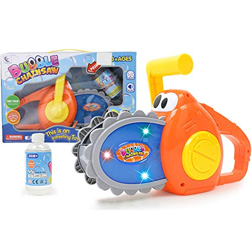 Liberty Imports Cartoon Bubble Power Chainsaw | Automatic Bubbles Maker Kids Machine Blower Toy with Bottle of Solution (Lights and Sound)
