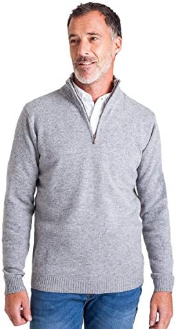 WoolOvers Mens Lambswool Zip Neck Sweater Soft Top Flannel M / WoolOvers Mens Lambswool Zip Neck Sweater Soft Top Flannel M