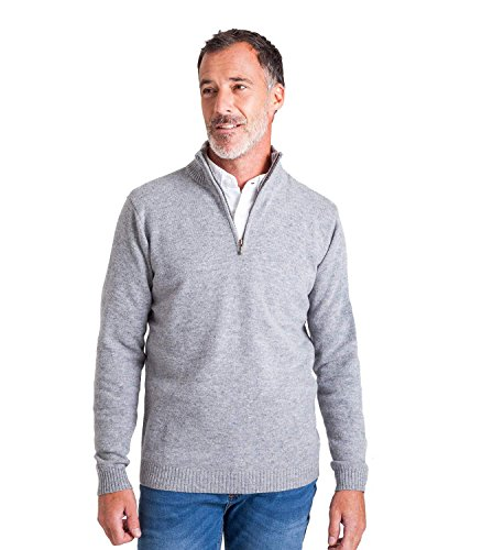 WoolOvers Mens Lambswool Zip Neck Sweater Soft Top Flannel XL