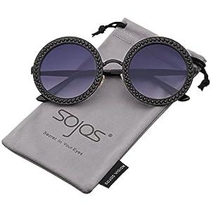 SOJOS Round Rhinestone Sunglasses for Women Metal Frame Diamond Shades SJ1095 with Black Frame/Gradient Grey Lens with Black Diamond