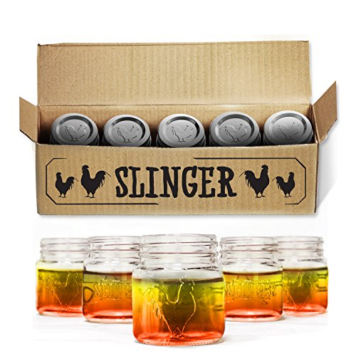 The Rooster Mason Jar Shot Glasses Set - Mini Mason Jars with Lids Featuring Unique Rooster Design (5 Pack)