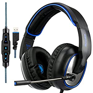 Sades R7 Gaming Headset Virtual 7.1 Channel Surround Sound gaming headset, USB Wired Over Ear Headphones with Mic&Four EQ Mode&Noise Cancelling&Volume Control & LED for PC PS4 Mac