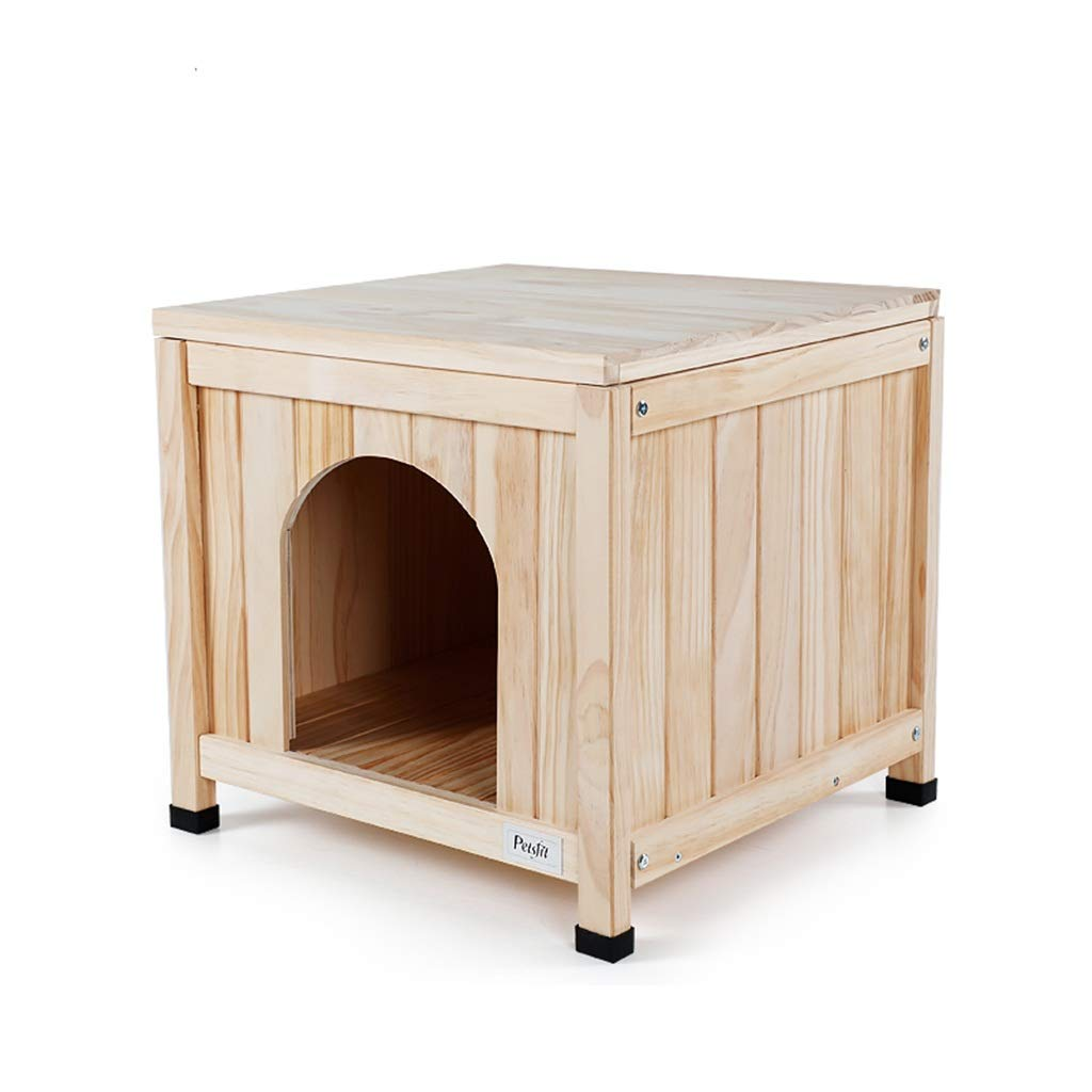 Wood color 505047.5cm Wood color 505047.5cm Beds Solid Wood Small Dog Indoor Pet Bed Dog House Square Suitable for 10 Kg Pet Beds & Furniture (color   Wood color, Size   50  50  47.5cm)
