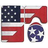 HOMESTORES America Tennessee State Flag Bath Mat Bathroom Carpet Rug Washable Non-Slip 3 Piece Bathroom Mat Set
