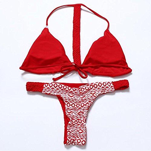 Erica Bikiníes de bikiní de bikiní de bikinis halter de punto de playa de las mujeres de dos piezas Set Swimsuit Contraste de color sólido sujetador acolchado inalámbrico #8