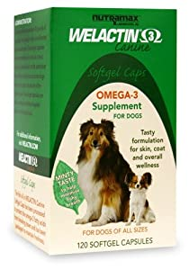 Nutramax welactin 3 canine 120 softgel for Fish oil capsules for dogs