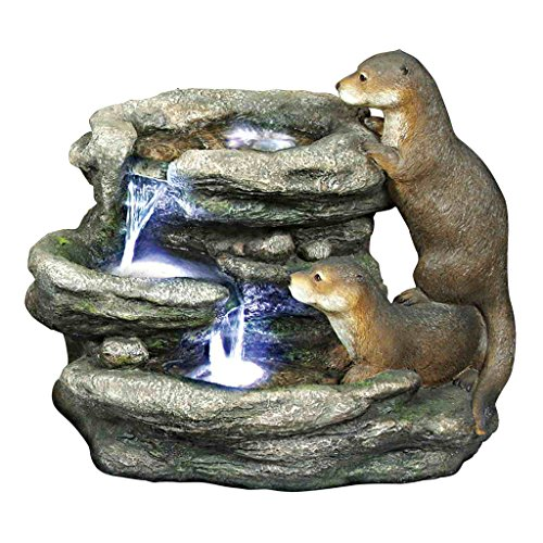 Water Fountain with LED Light - Bright Waters Otters Garden Decor Fountain - Outdoor Water Feature by Design Toscano