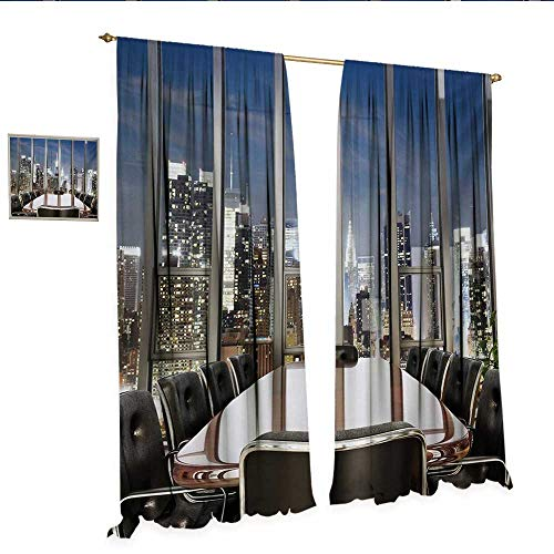 Modern Drapes for Living Room Business Office Conference Room Table Chairs City View at Dusk Realistic Photo Window Curtain Drape W72 x L96 Grey Black Blue.jpg