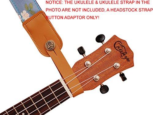 MUSIC FIRST Original Design Genuine LeatherRose Ukulele Strap Button, Strap Locks, Headstock Adapter, Strap Adapter Fit for Ukulele/Banjo/Acoustic Guitar/Acoustic Bass (Rose, Apricot)