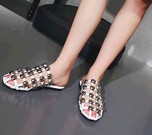 Zapatos Zapatillas Negro Sandalias Pump De Metal Slip Sandalias Remaches Semi Plata Plana Verano Playa De GLTER Hollow Red On Sandalias Flat Drag Mujer Blanca Planas blanco Mujer Zapatos Aqn8XwTFz