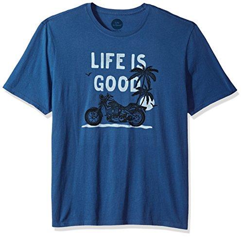 Life is good Men's Smooth Tee Motorcycle Beach, Vintage Blue, Large (Beach Mens Vintage T-shirt)
