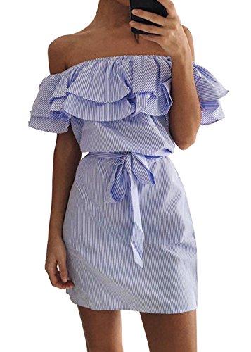 Femmes Robe Et Imprim Rayure Stripe Epaule Nu Col Bateau Manche Courte Casuale Mini Robe Bleu