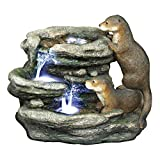 Water Fountain with LED Light - Bright Waters Otters Garden Decor Fountain - Outdoor Water Feature