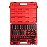 Sunex 2569, 1/2 Inch Drive Master Impact Socket Set, 43-Piece, Metric, 9mm - 30mm, Standard/Deep, Cr-Mo Alloy Steel, Radius Corner Design, Heavy Duty Storage Case, Universal Joint & Impact Extensions
