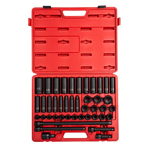 (Sunex 2569, 1/2 Inch Drive Master Impact Socket Set, 43-Piece, Metric, 9mm - 30mm, Standard/Deep, Cr-Mo Alloy Steel, Radius Corner Design, Heavy Duty Storage Case, Universal Joint & Impact Extensions)