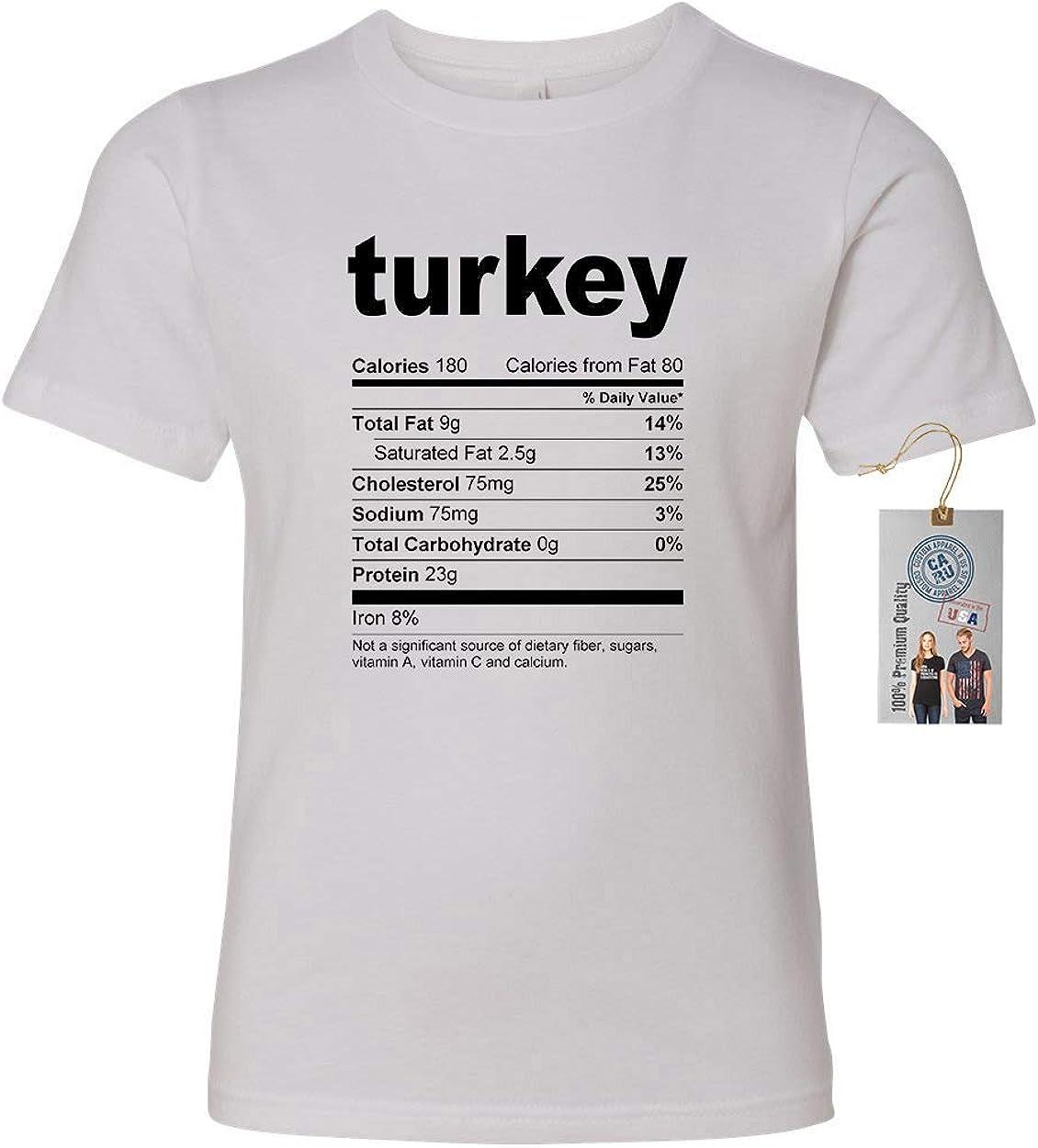 Custom Apparel R Us Turkey Nutrional Facts Girls Boys Short Sleeve