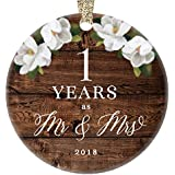 "First 1st Wedding Anniversary 2018 Christmas Tree Ornament One Year Together Husband & Wife Married Couple Pretty Rustic Ceramic Collectible Keepsake Gift 3"" Flat Porcelain with Gold Ribbon & Free Box"