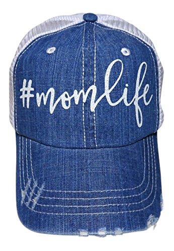 White Glitter #MomLife Distressed Torn Look Denim Trucker Cap Hat (Blue Denim (Quote Womens Cap)
