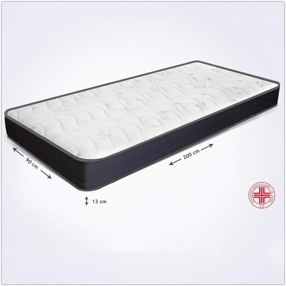 Miasuite i sogni italiani - Colchón individual de 90 x 200 cm y 13 cm de altura - Fabricado en Waterfoam - Colchón ortopédico - Dispositivo médico - ...