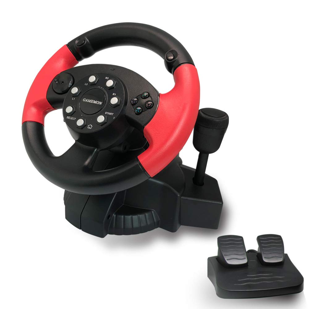 GAMEMON 3IN1 Racing wheel compatible with Playstation3 PS3/Playstation2 PS2/PC(X-INPUT/D-INPUT)with gear and foot pedal
