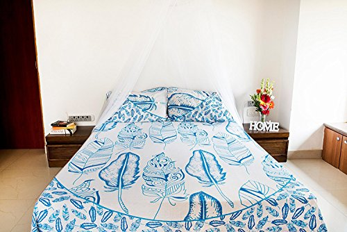 Blue Feather Mandala Bedding with Pillow Covers, Indian Bohemian Hippie Tapestry Wall Hanging, Hippy Blanket or Beach Throw, Mandala Ombre Bedspread for Bedroom, Blue Queen Size Boho Tapestry by Folkulture (Image #5)