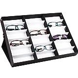 18 Grids Sunglass Watches Jewelry Display Holder Box Storage Case Organizer Black (US Stock)