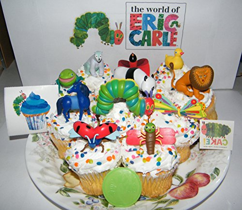 The Very Hungry Caterpillar and Friends from The World of Eric Carle Deluxe Cake Toppers Cupcake Decorations Set Featuring Caterpillar, Grouchy Lady Bug, Lonely Firefly and More! ()