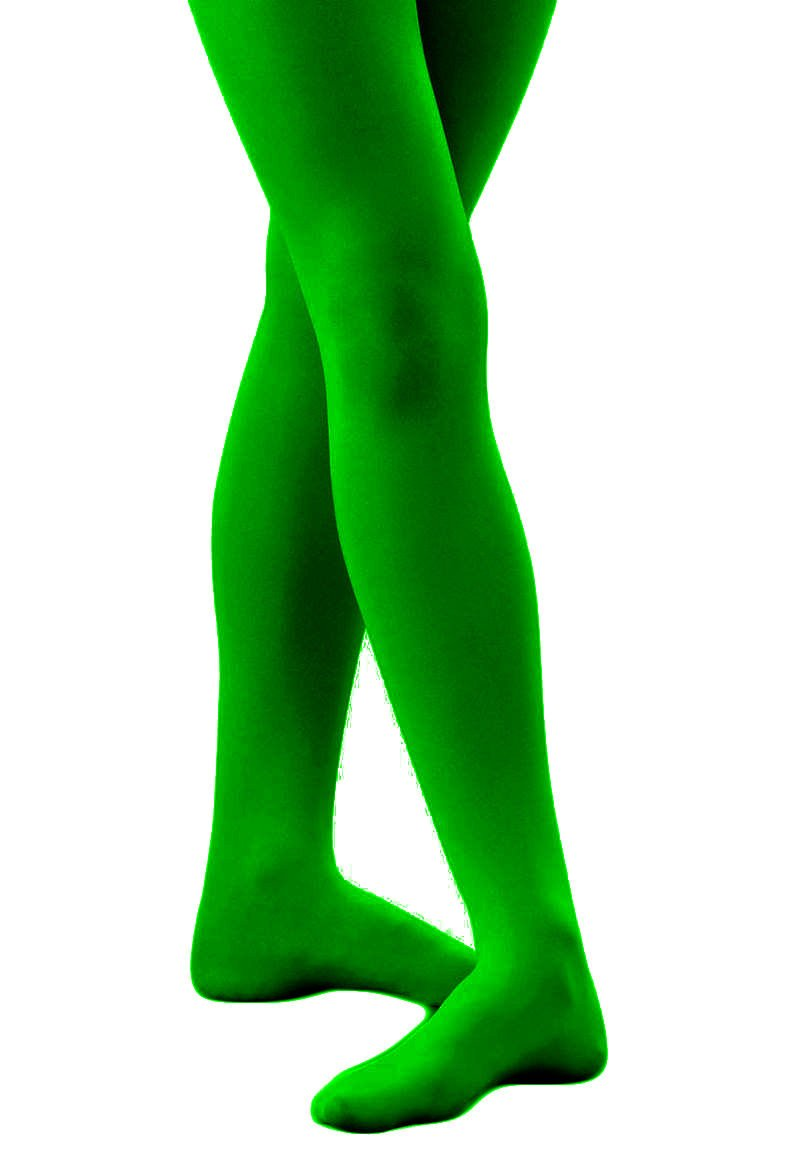 Butterfly Hosiery Girls' Kids Childerns Solid Colored Dance Ballet Custume Seamless Opaque Footed Tights Stocking Kelly Green 7-10