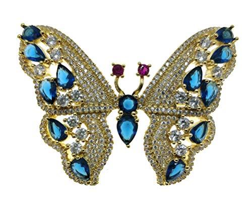 Women Rose Flower Sunflower Heart Butterfly Brooch Pin Rhinestone Zircon Crystal (D Butterfly Gold Blue) (Sunflower Crystal Brooch)