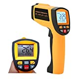 Laser Infrared Thermometer, LCD Non Contact High Temperature Gun Pyrometer -58°F to 2102°F(-50°C to 1150°C) with Dual Laser Visual Target, High / Low Temp Alarm, Adjustable Emissivity, Max/Min/Avg/Dif
