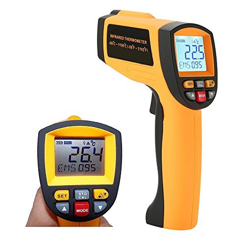 Laser Infrared Thermometer, LCD Non Contact High Temperature Gun Pyrometer -58°F to 2102°F(-50°C to 1150°C) with Dual Laser Visual Target, High / Low Temp Alarm, Adjustable Emissivity, Max/Min/Avg/Dif (Range Temp)