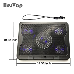 HESVAP 12, 14, 15.6, 17 inches Gaming Laptop Cooling Pad Notebook Cooler with 5 Quiet Fans and Adjustable Height Settings