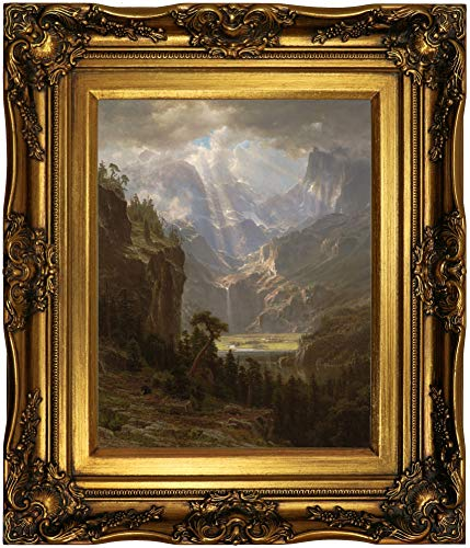 Historic Art Gallery Rocky Mountains, Lander's Peak 1863 by Albert Bierstadt Framed Canvas Print, Size 11x14, Gold