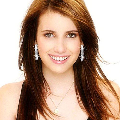 Hot Sale! Women Fashion Luxury Double Row Rhinestone Crystal Elegant Earring Ear Hoop Dangle Ear Clip (Silver, Crystal) ()