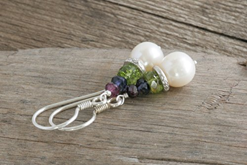 Pearl and GEMSTONE Stack Dangle Drop Hill Tribe Sterling Silver Earrings (Hill Tribe Silver 7mm)