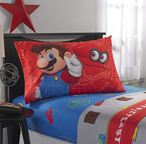 A&L 4 Piece Kids Blue Super Mario Sheet Set Full, Red Oddyssey Bedding Video Games Bed Sheets Tanks Hats Buildings Fun Bright Bold Soft Cozy Comfortable Yellow Green Brown Durable, Polyester by A&L