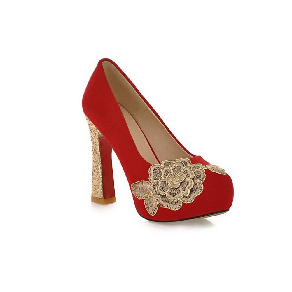 BalaMasa pour Femme Round-Toe Talons Hauts Brodée À Enfiler Imitation Cuir Pumps-Shoes Rouge Red, 38.5 EU, APL02394
